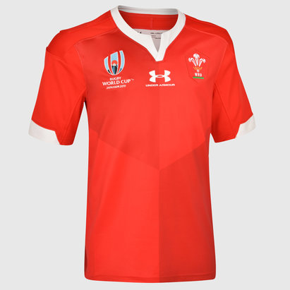 Under Armour Wales WRU RWC 2019 Kids Home S/S Replica Rugby Shirt