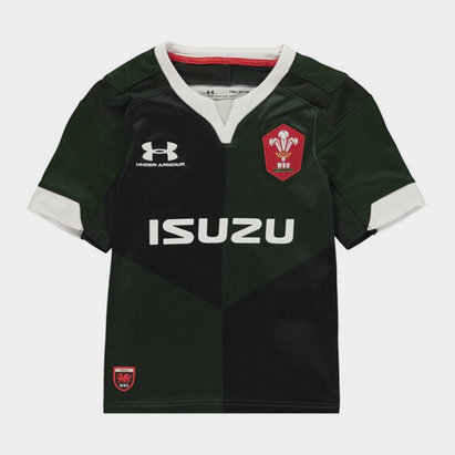 Under Armour Wales WRU 2019/20 Kids Alternate S/S Replica Rugby Shirt