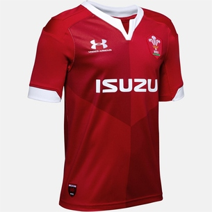 Under Armour Wales WRU 2019/20 Kids Home S/S Replica Rugby Shirt