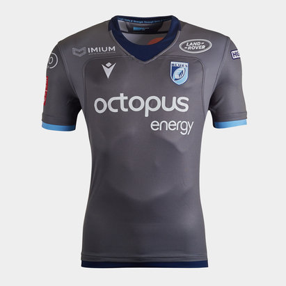 Macron Cardiff Blues 2019/20 Kids Alternate S/S Replica Rugby Shirt