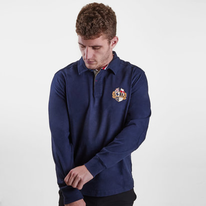 Raging Bull Crest Embroidered L/S Classic Rugby Polo Shirt