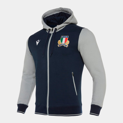 Macron Italy 2019/20 Players Travel Full Zip Hooded Rugby Sweat