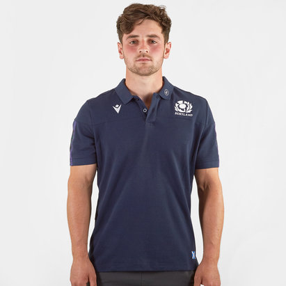 Macron Scotland 2019/20 Players Travel Rugby Polo Shirt