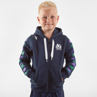 Macron Scotland 2019/20 Kids Full Zip Hooded Rugby Sweat