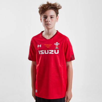 Under Armour Wales WRU 2019 Grand Slam Winners Kids Home S/S Replica Rugby Shirt