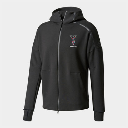 adidas Harlequins 2018/19 ZNE Full Zip Hooded Rugby Sweat