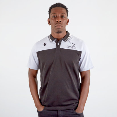 Macron Newcastle Falcons 2019/20 Players Travel Rugby Polo Shirt