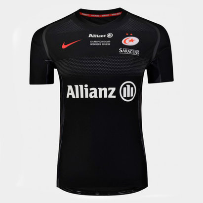 Nike Saracens 2018/19 Champions Cup Winners Home Players S/S Match Rugby Shirt