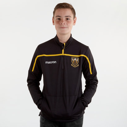 Macron Northampton Saints 2018/19 Kids Travel 1/4 Zip Rugby Sweat