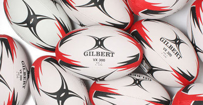 Gilbert VX300 Training Rugby Ball Size 5 Pack Of 25 Balls White/Red/Black