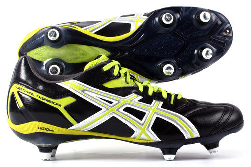 Lethal Tigreor 6 ST SG Rugby Boots Black/Silver/Citron