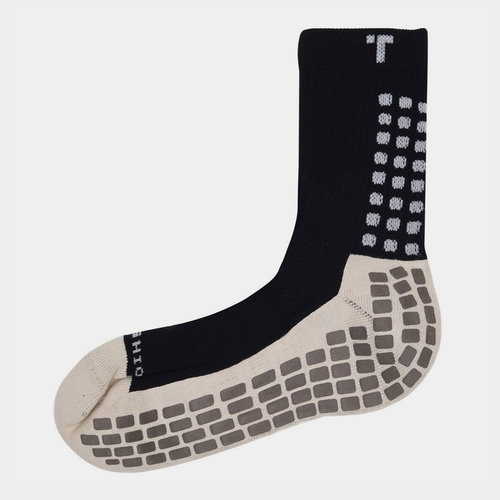 Mid Calf Cushion Crew Socks Black/White