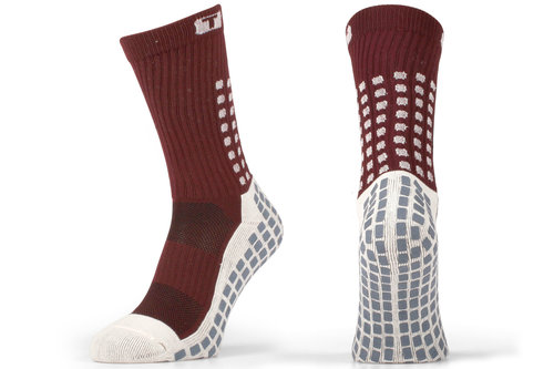 Mid Calf Cushion Crew Socks Burgandy / White