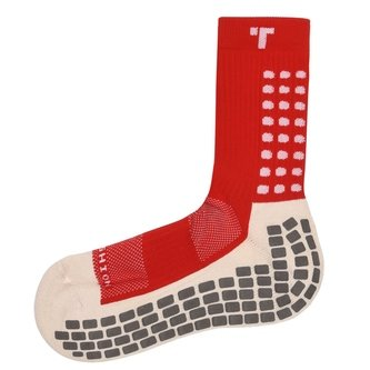 Mid Calf Cushion Crew Socks Red / White