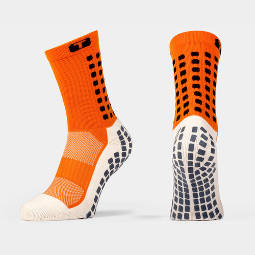 Mid Calf Cushion Crew Socks Orange / Black