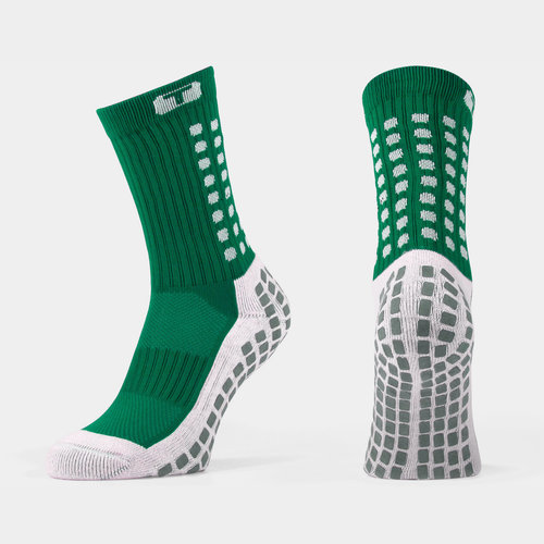 Mid Calf Cushion Crew Socks Green / White