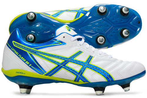 Lethal Flash DS 3 ST SG Rugby Boots White/Blue/Neon Yellow