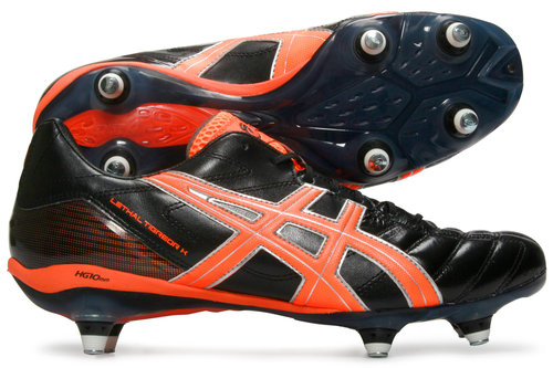 Lethal Tigreor 7 K ST SG Rugby Boots Black/Neon Orange/Silver