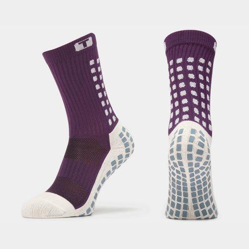Mid Calf Cushion Crew Socks Purple/White