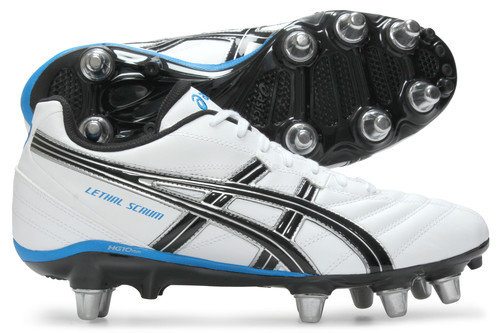 Lethal Scrum SG Rugby Boots White/Silver/Blue