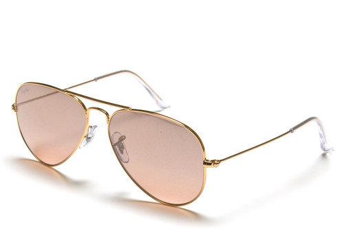 Ray-Ban 3025 Aviator Gold Silver/Pink Mirror Sunglasses