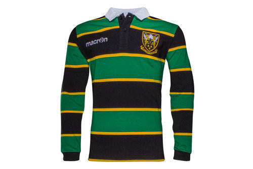 Northampton Saints 2016/17 Players Heavy Cotton L/S Rugby Polo Shirt