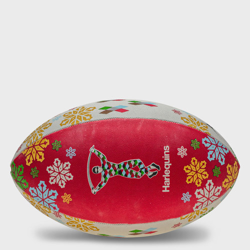 Harlequins Christmas Snowflakes Rugby Ball