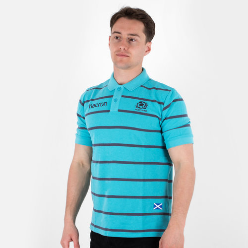 Scotland 2017/18 Travel Stripe Polycotton Rugby Polo Shirt