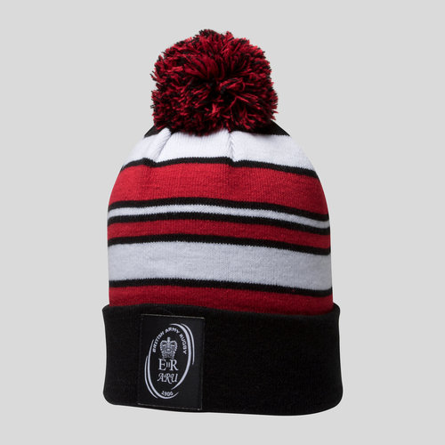 Army Rugby Union Striped Bobble Hat