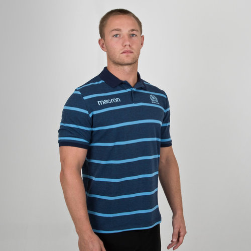 Scotland 2018/19 Players Travel Stripe Rugby Polo Shirt