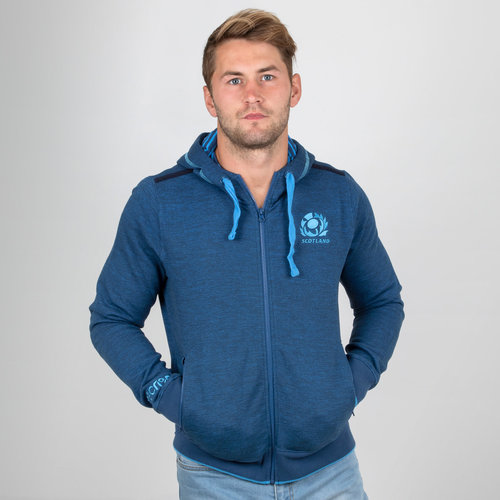 Scotland 2018/19 Players Travel Full Zip Hooded Rugby Sweat