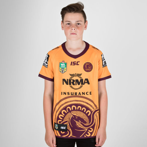Brisbane Broncos NRL 2018 Kids Indigenous S/S Rugby Shirt