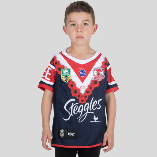 Sydney Roosters NRL 2018 Kids Anzac S/S Rugby Shirt