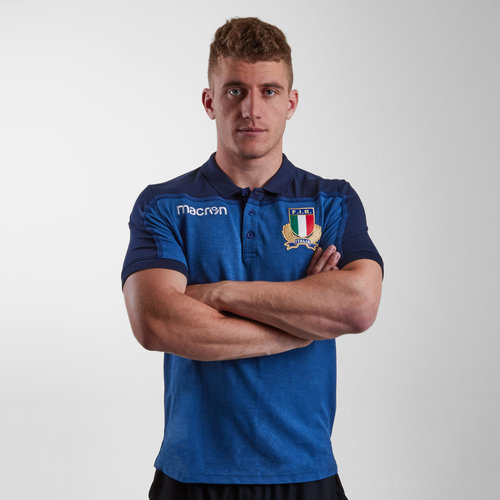 Italy 2018/19 Players Cotton Travel Rugby Polo Shirt