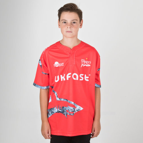 Sale Sharks 2018/19 Kids Alternate S/S Replica Rugby Shirt