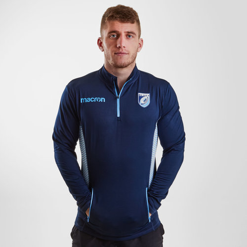 Cardiff Blues 2018/19 Players Travel 1/4 Zip Rugby Jacket