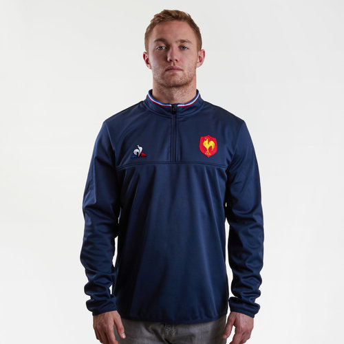 France 2018/19 1/2 Zip Rugby Training Top