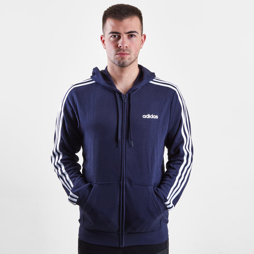 Essential 3 Stripe Full Zip Hooded Sweat