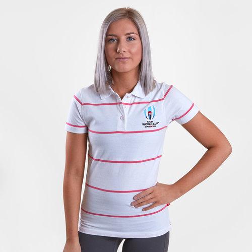 RWC 2019 Stripe Jersey Ladies Polo Shirt