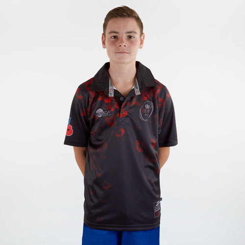 Army Rugby Union Remembrance Day Poppy Kids S/S Rugby Shirt