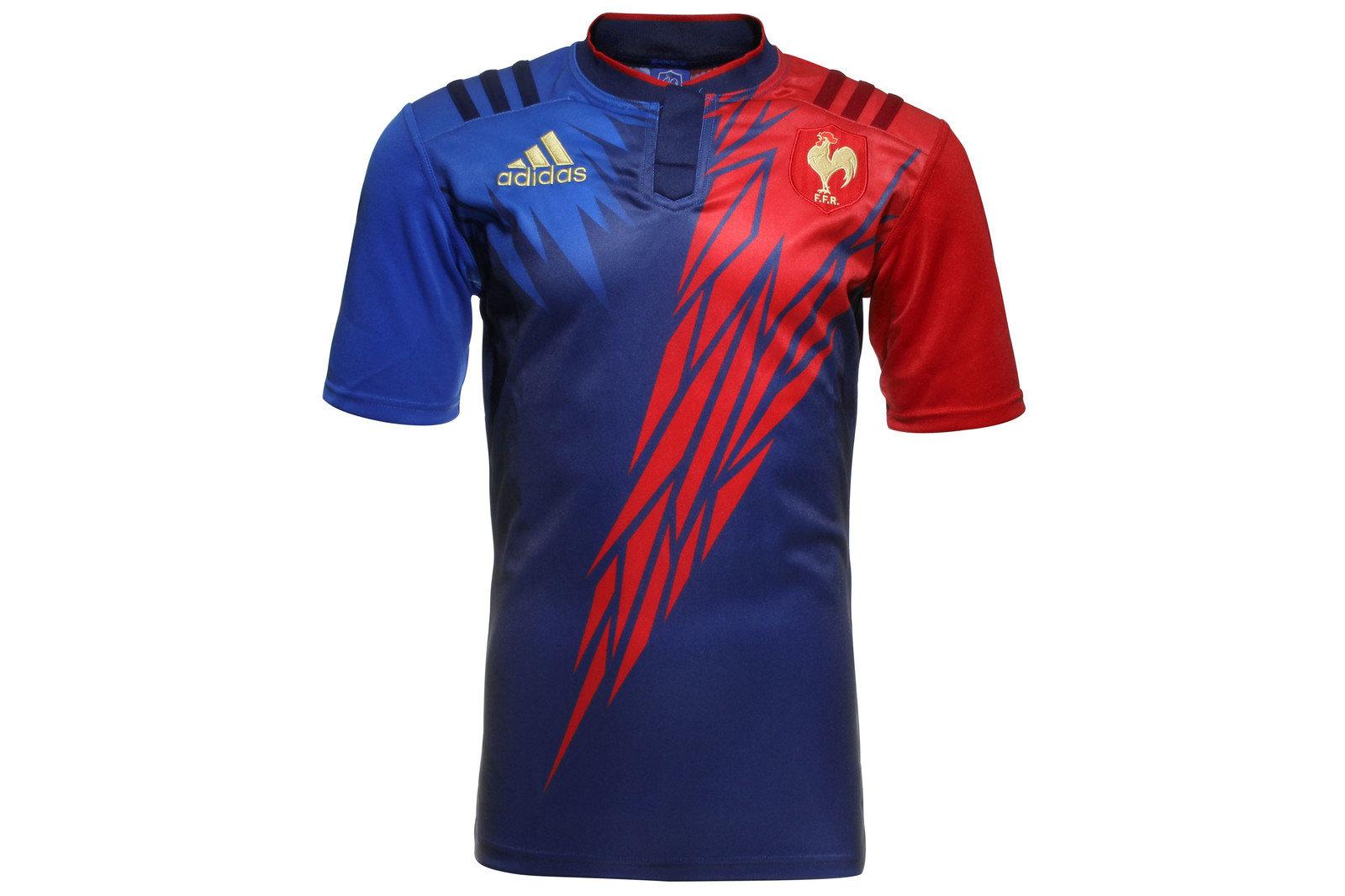 e4dbebf23fb adidas Mens France 7s 2014/15 Home S/S Replica Rugby Shirt Top Sports  Training