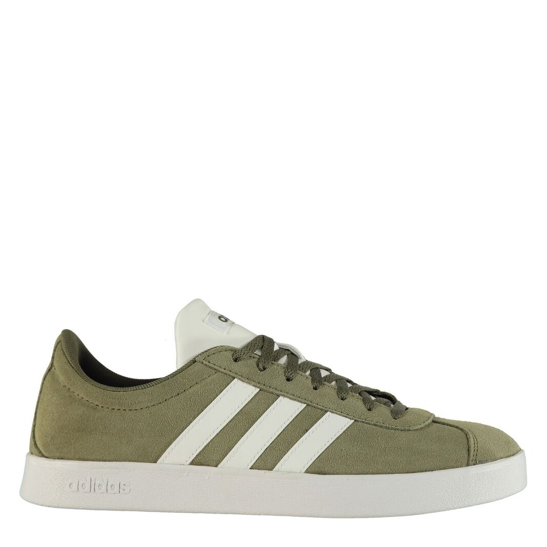 Details about adidas Mens VL Court 2 Suede Shoes RawKhaki White Trainers Sports