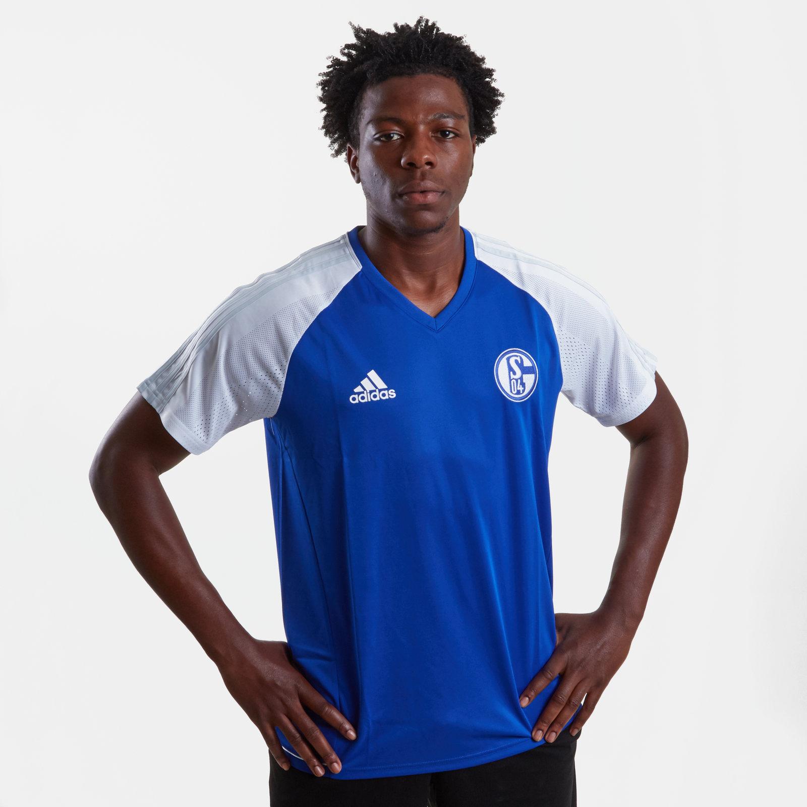 c79504d39d4 adidas Mens FC Schalke 04 17/18 Players S/S Football Training Shirt Sports