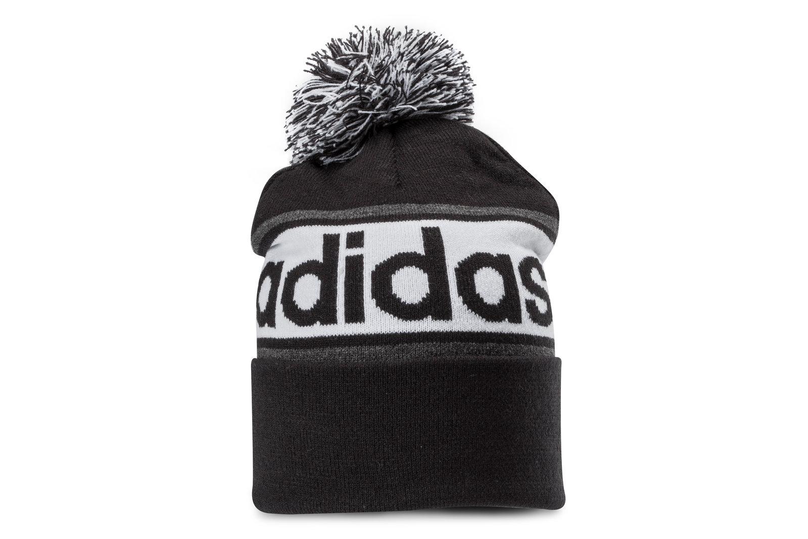 adidas Mens Linear Woolie Bobble Hat Sports Training Headwear  8eaa4bc14ce