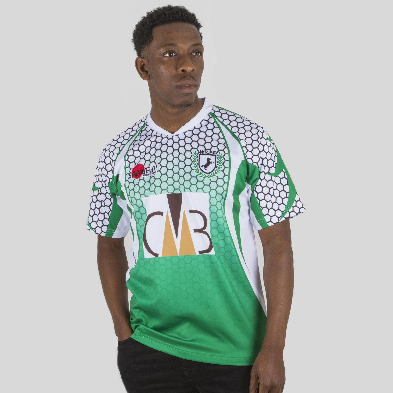 best loved d4ea7 a894e Details about Samurai Mens Nigeria 7s 2017/18 Home Short Sleeve Replica  Rugby Shirt Green