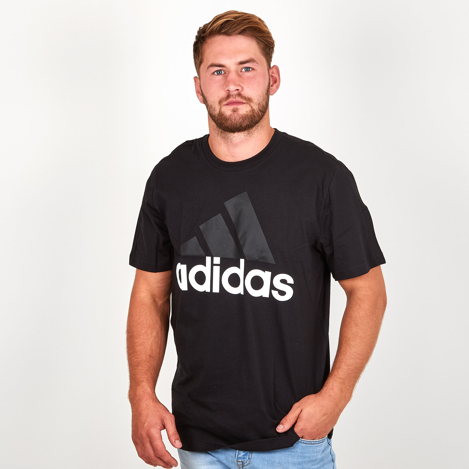 Details about adidas Mens Essential Linear T Shirt Tee Top Black