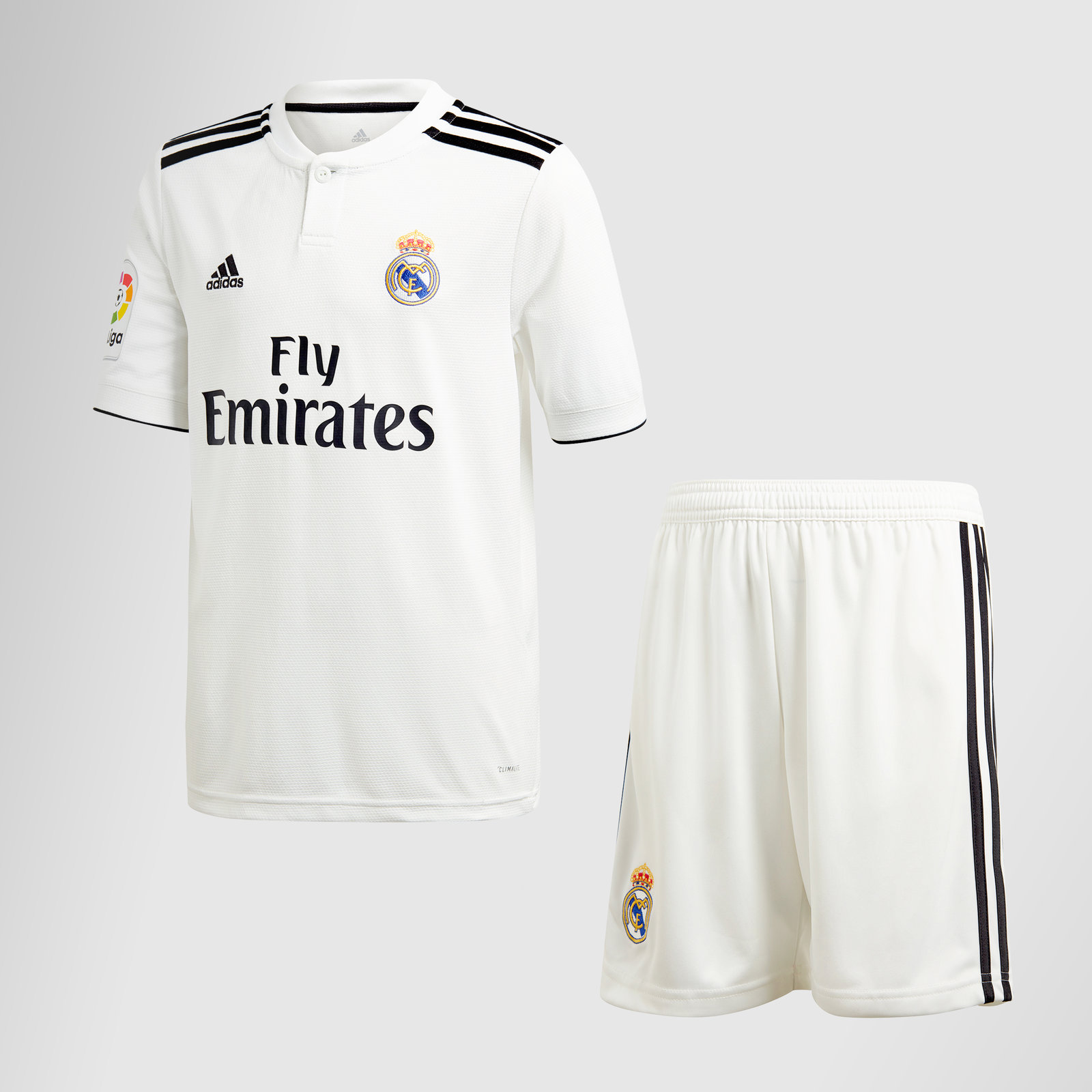 f0390124422 adidas Real Madrid 18 19 Home Kids Short Sleeve Football Kit White Sports