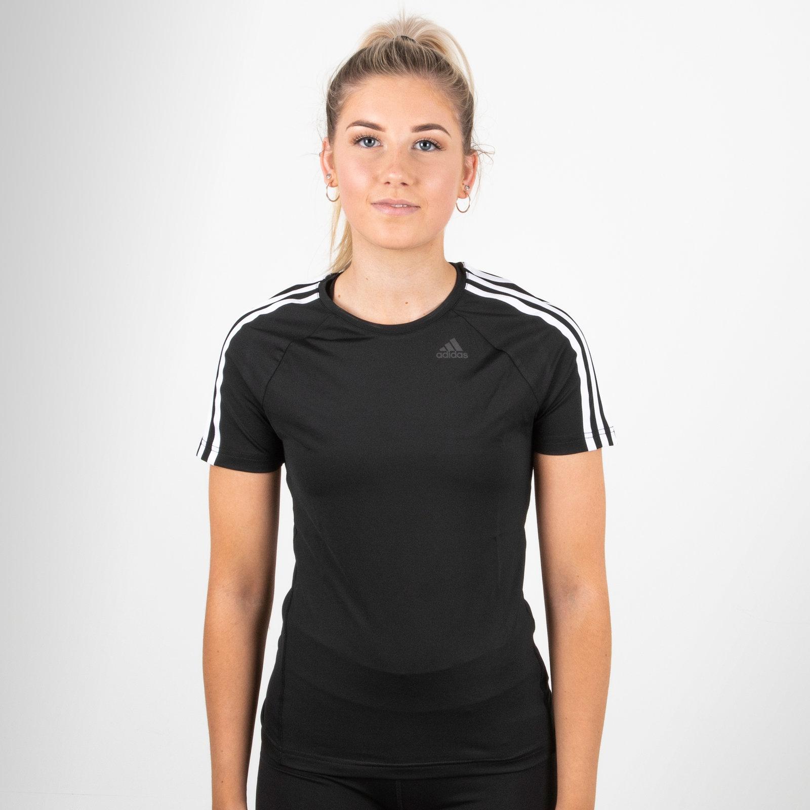 97aa745a40 adidas Womens D2M Ladies 3 Stripes Training T-Shirt Black Top Sports ...