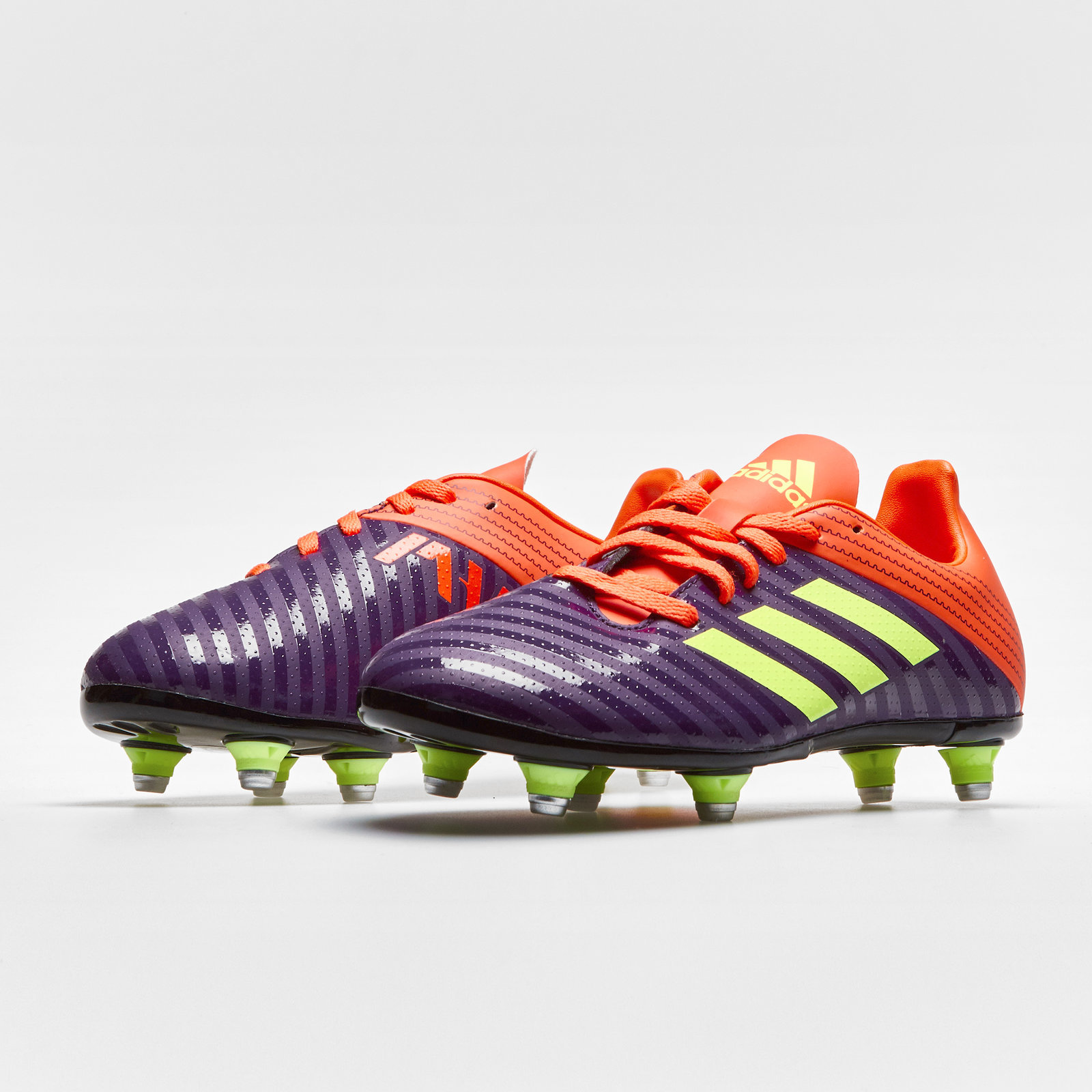 67038f6f99a286 adidas Malice Kids Soft Ground Rugby Boots Sports Shoes Studs Purple