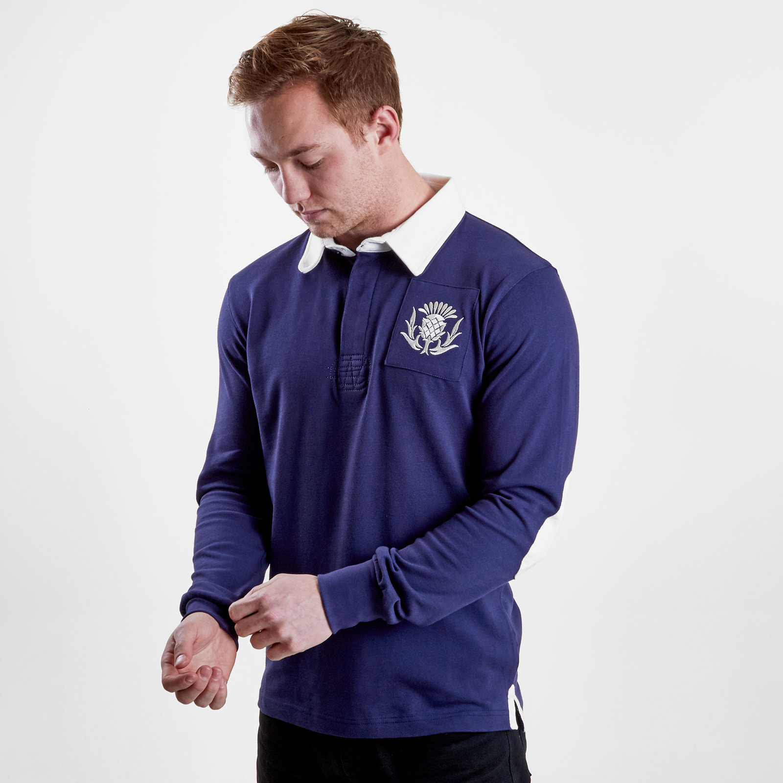 VX3 Mens Scotland 2019//20 Vintage Rugby Polo T-Shirt Top Blue